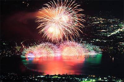水中花火は半球状の花火が湖面に映し出される様もとても美しい